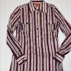 Tory Burch Long Sleeve Tunic Striped Blouse, Sz 4
